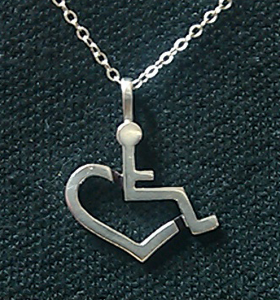 3ELove logo necklace - silver charm in the shape of an accessible symbol with half a heart on the bottom, on a silver chain