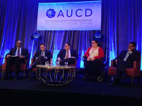 Emily Ladau speaking on panel at Association of University Centers on Disabilities conference.