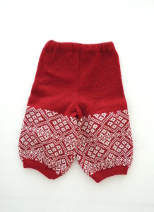 Little Folks Knitwear Red & Cream Handmade Fair Isle Pattern Joggers